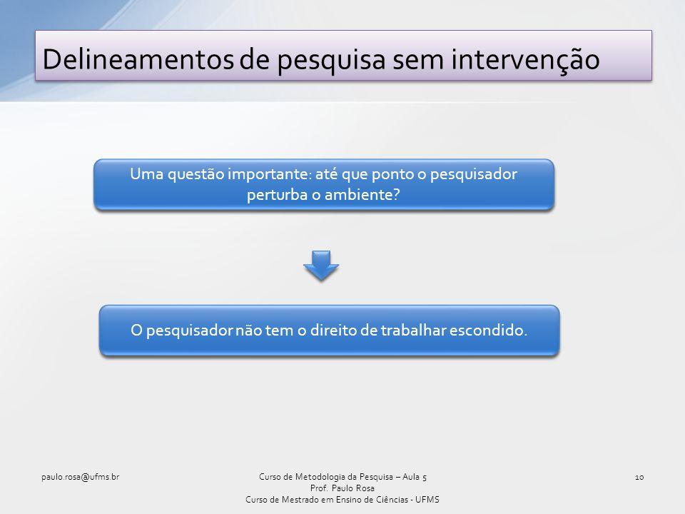 Delineamentos de pesquisa sem intervenção 10Curso de Metodologia da Pesquisa – Aula 5 Prof. Paulo Rosa Curso de Mestrado em Ensino de Ciências - UFMS