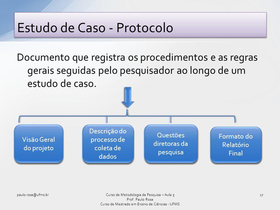 Documento que registra os procedimentos e as regras gerais seguidas pelo pesquisador ao longo de um estudo de caso. Estudo de Caso - Protocolo paulo.r