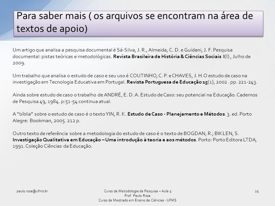Para saber mais ( os arquivos se encontram na área de textos de apoio) paulo.rosa@ufms.br25Curso de Metodologia da Pesquisa – Aula 5 Prof. Paulo Rosa