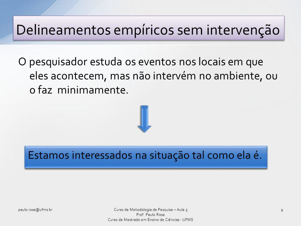 Delineamentos de pesquisa sem intervenção 10Curso de Metodologia da Pesquisa – Aula 5 Prof.