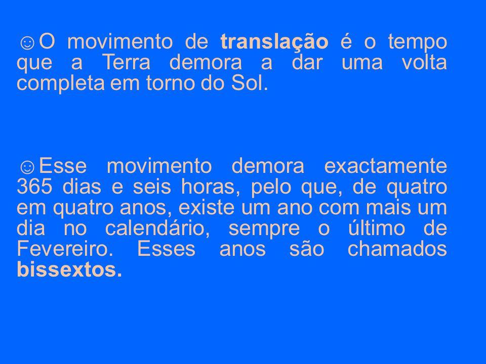 ☺Ao mesmo tempo que descreve o movimento de translação, a Terra gira em torno de si própria, num movimento de rotação.