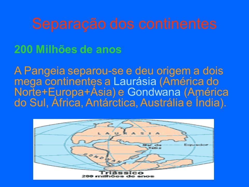 135 Milhões de anos Iniciou-se a formação do Atlântico Norte e a fragmentação do antigo continente da Laurásia, originando duas massas, continentais: a ocidente a América do Norte e a oriente a Eurásia