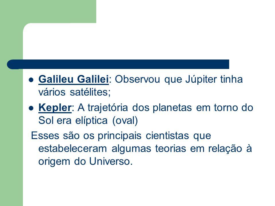 Galileu Galilei: Observou que Júpiter tinha vários satélites; Kepler: A trajetória dos planetas em torno do Sol era elíptica (oval) Esses são os princ