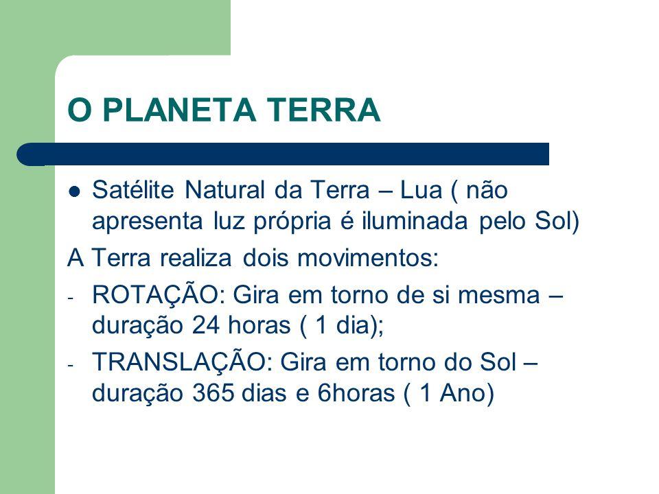 O PLANETA TERRA Satélite Natural da Terra – Lua ( não apresenta luz própria é iluminada pelo Sol) A Terra realiza dois movimentos: - ROTAÇÃO: Gira em