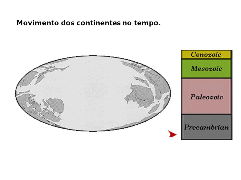 Movimento dos continentes no tempo.