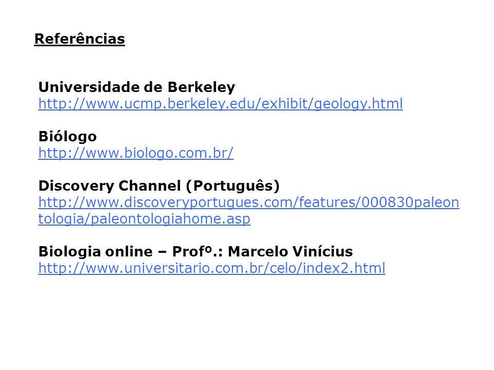 Universidade de Berkeley http://www.ucmp.berkeley.edu/exhibit/geology.html Biólogo http://www.biologo.com.br/ Discovery Channel (Português) http://www