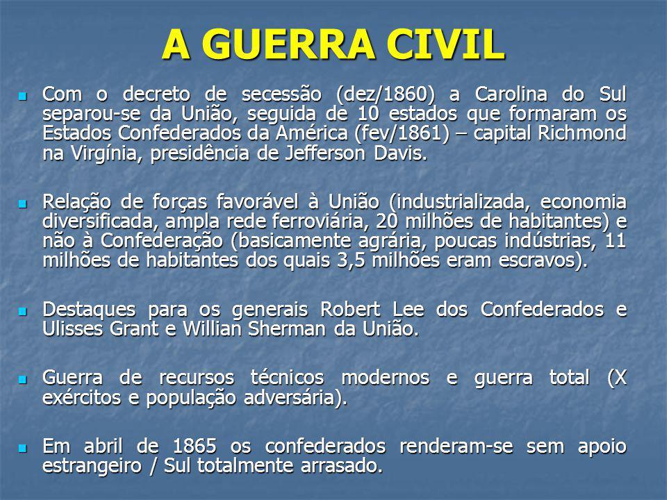 A GUERRA CIVIL Com o decreto de secessão (dez/1860) a Carolina do Sul separou-se da União, seguida de 10 estados que formaram os Estados Confederados da América (fev/1861) – capital Richmond na Virgínia, presidência de Jefferson Davis.
