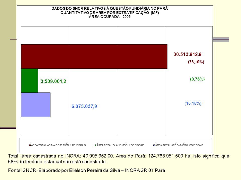 Total área cadastrada no INCRA: 40.095.952,00. Área do Pará: 124.768.951,500 ha, isto significa que 68% do território estadual não está cadastrado. Fo