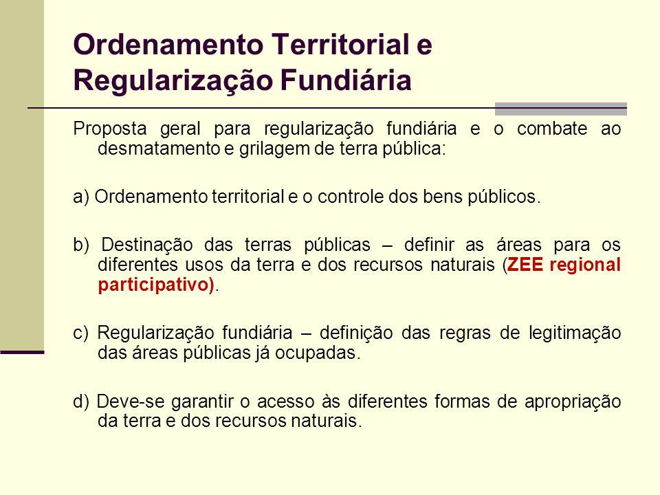 Ordenamento Territorial e Regularização Fundiária Proposta geral para regularização fundiária e o combate ao desmatamento e grilagem de terra pública: