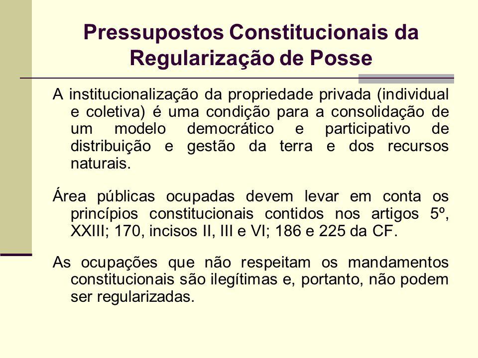 Pressupostos Constitucionais da Regularização de Posse A institucionalização da propriedade privada (individual e coletiva) é uma condição para a cons