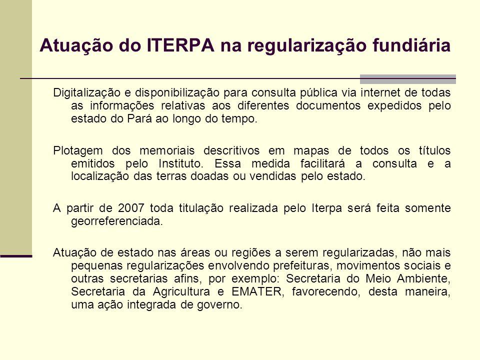 Atuação do ITERPA na regularização fundiária Digitalização e disponibilização para consulta pública via internet de todas as informações relativas aos