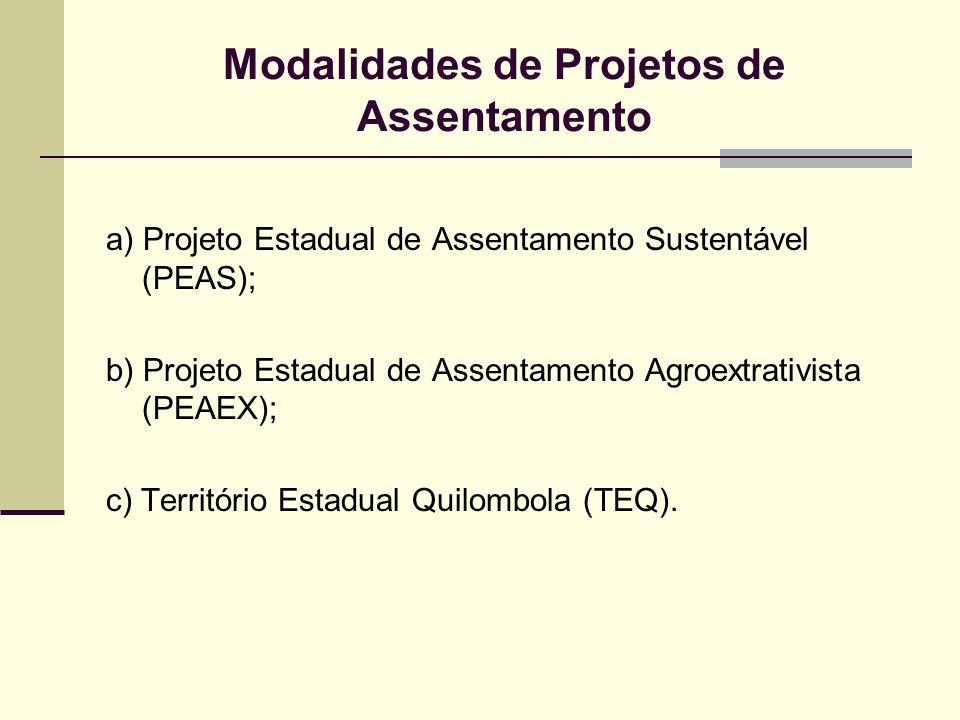 Modalidades de Projetos de Assentamento a) Projeto Estadual de Assentamento Sustentável (PEAS); b) Projeto Estadual de Assentamento Agroextrativista (