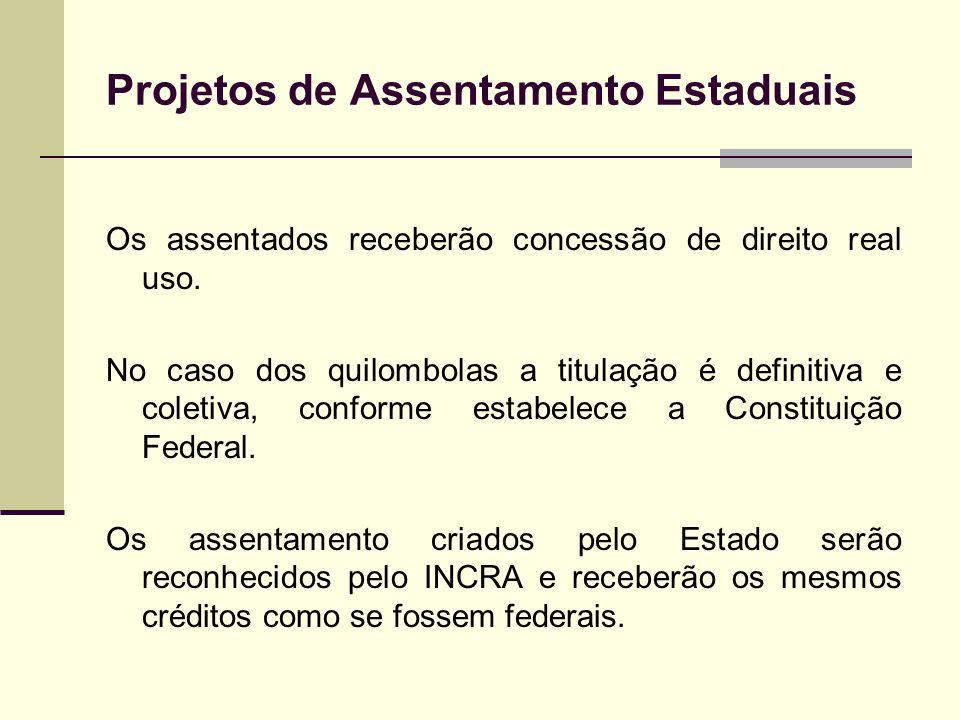 Projetos de Assentamento Estaduais Os assentados receberão concessão de direito real uso. No caso dos quilombolas a titulação é definitiva e coletiva,