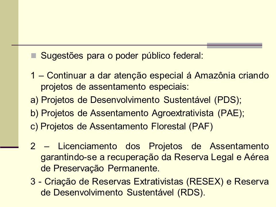 Sugestões para o poder público federal: 1 – Continuar a dar atenção especial á Amazônia criando projetos de assentamento especiais: a) Projetos de Des