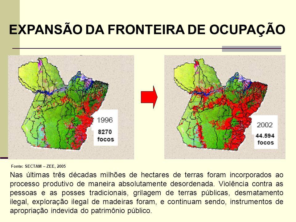 EXPANSÃO DA FRONTEIRA DE OCUPAÇÃO Fonte: SECTAM – ZEE, 2005 Nas últimas três décadas milhões de hectares de terras foram incorporados ao processo prod