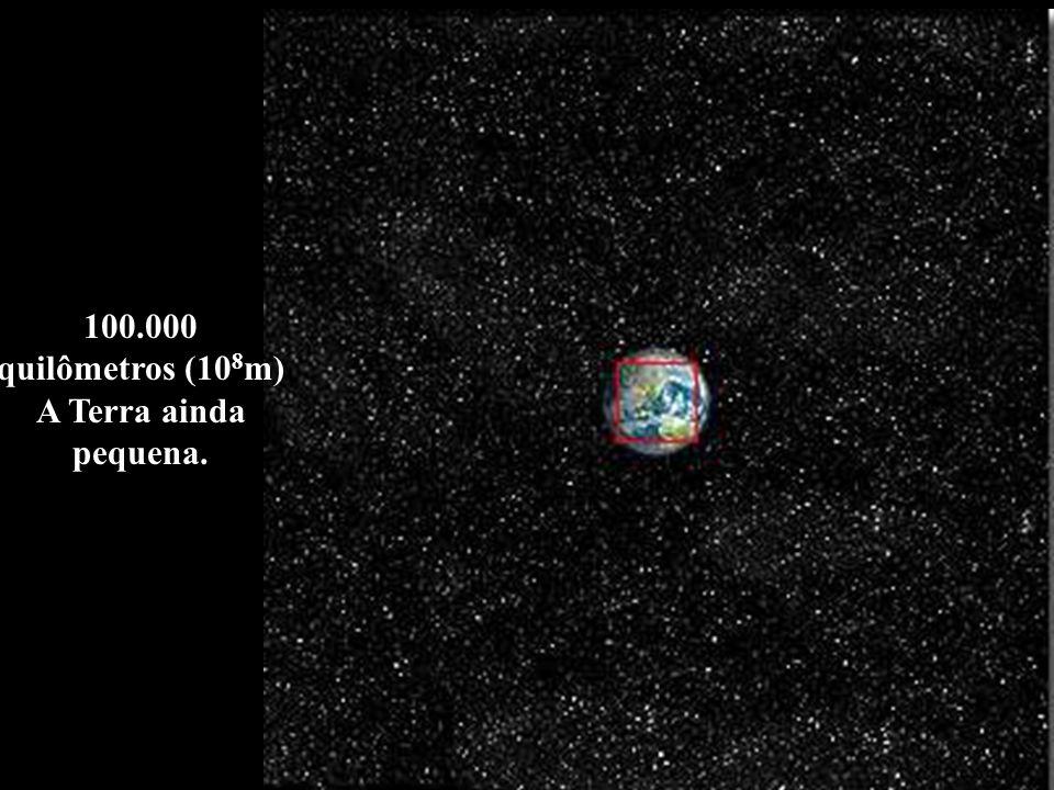 100.000 quilômetros (10 8 m) A Terra ainda pequena.