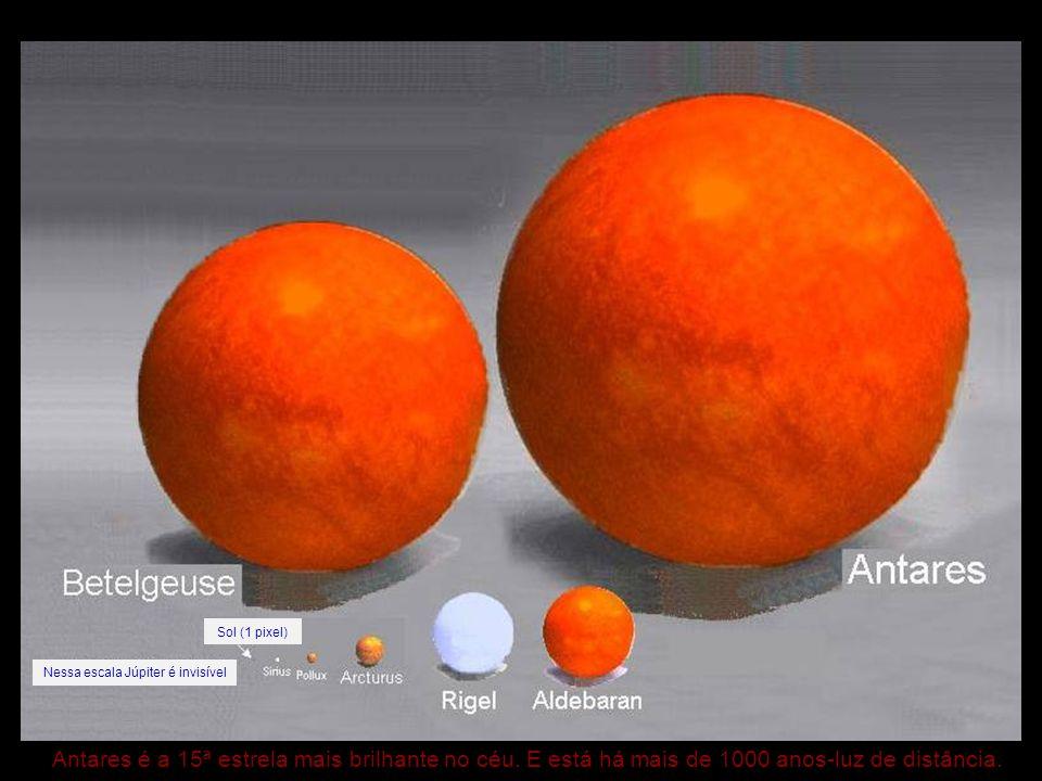 Antares é a 15ª estrela mais brilhante no céu. E está há mais de 1000 anos-luz de distância. Sol (1 pixel) Nessa escala Júpiter é invisível
