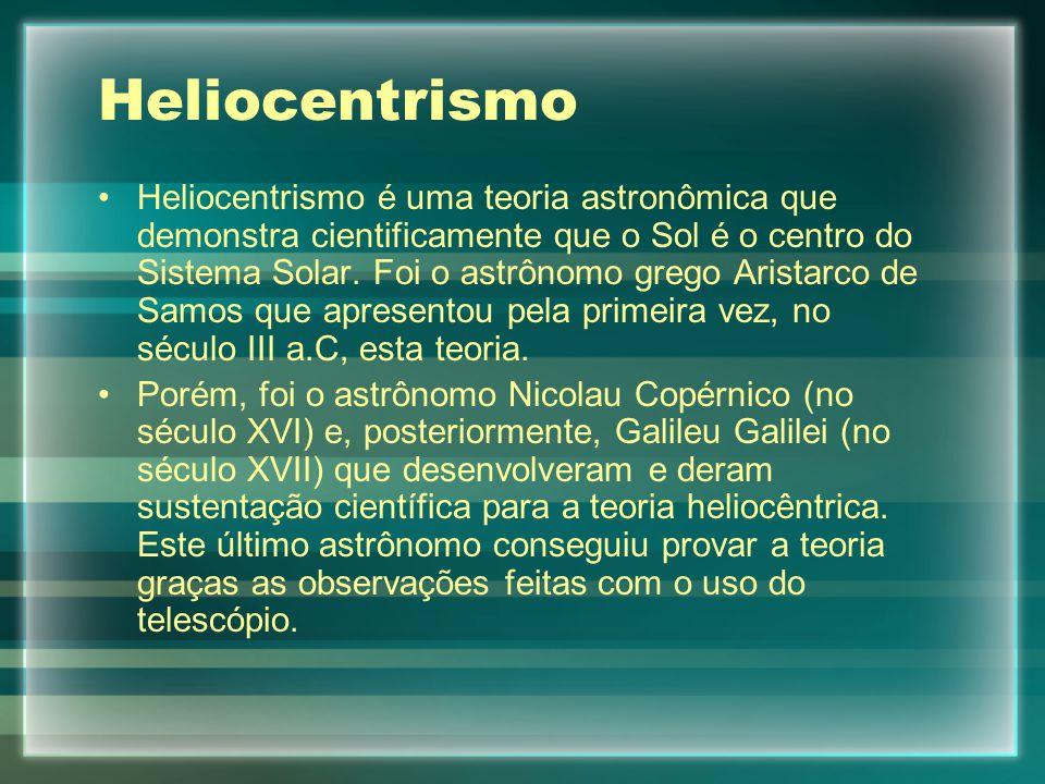 Heliocentrismo Heliocentrismo é uma teoria astronômica que demonstra cientificamente que o Sol é o centro do Sistema Solar.