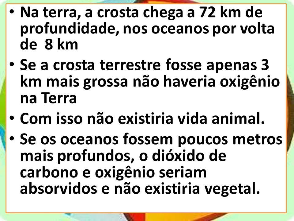 Na terra, a crosta chega a 72 km de profundidade, nos oceanos por volta de 8 km Se a crosta terrestre fosse apenas 3 km mais grossa não haveria oxigên