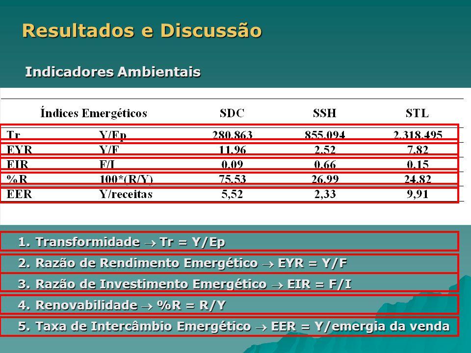 Resultados e Discussão Indicadores Ambientais 1.Transformidade  Tr = Y/Ep 2.Razão de Rendimento Emergético  EYR = Y/F 3.Razão de Investimento Emergético  EIR = F/I 4.Renovabilidade  %R = R/Y 5.Taxa de Intercâmbio Emergético  EER = Y/emergia da venda
