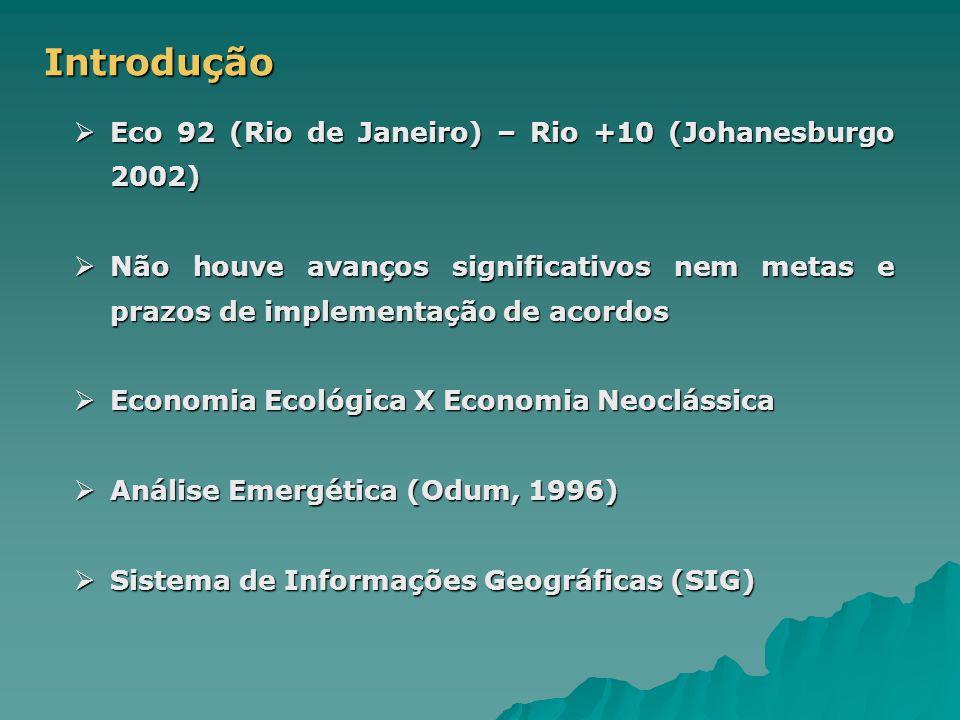 Introdução  Eco 92 (Rio de Janeiro) – Rio +10 (Johanesburgo 2002)  Não houve avanços significativos nem metas e prazos de implementação de acordos  Economia Ecológica X Economia Neoclássica  Análise Emergética (Odum, 1996)  Sistema de Informações Geográficas (SIG)