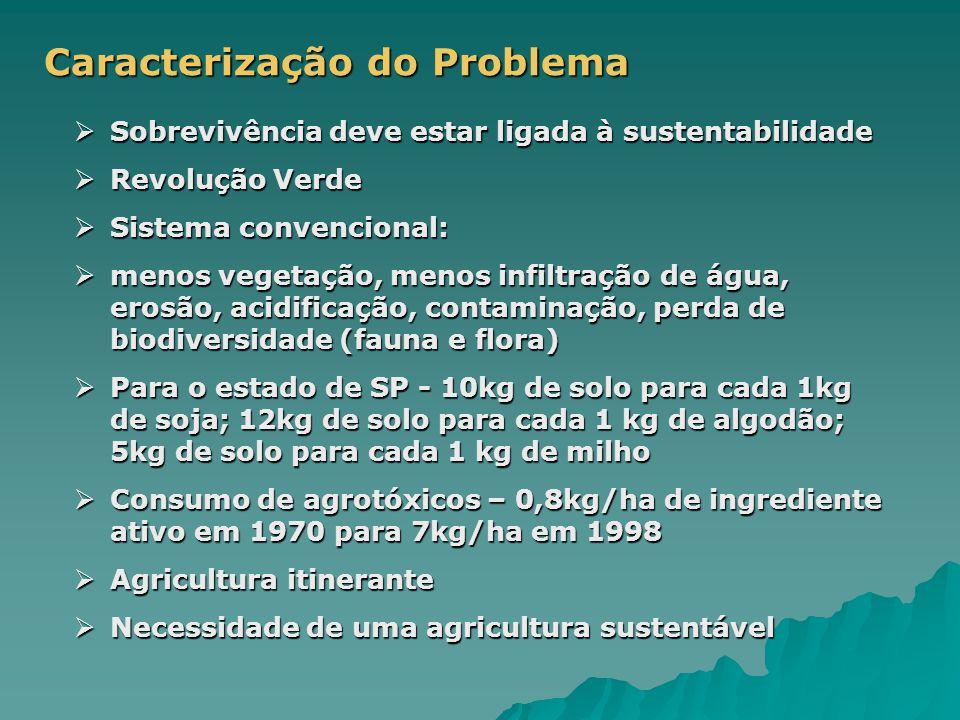 Caracterização do Problema  Sobrevivência deve estar ligada à sustentabilidade  Revolução Verde  Sistema convencional:  menos vegetação, menos infiltração de água, erosão, acidificação, contaminação, perda de biodiversidade (fauna e flora)  Para o estado de SP - 10kg de solo para cada 1kg de soja; 12kg de solo para cada 1 kg de algodão; 5kg de solo para cada 1 kg de milho  Consumo de agrotóxicos – 0,8kg/ha de ingrediente ativo em 1970 para 7kg/ha em 1998  Agricultura itinerante  Necessidade de uma agricultura sustentável