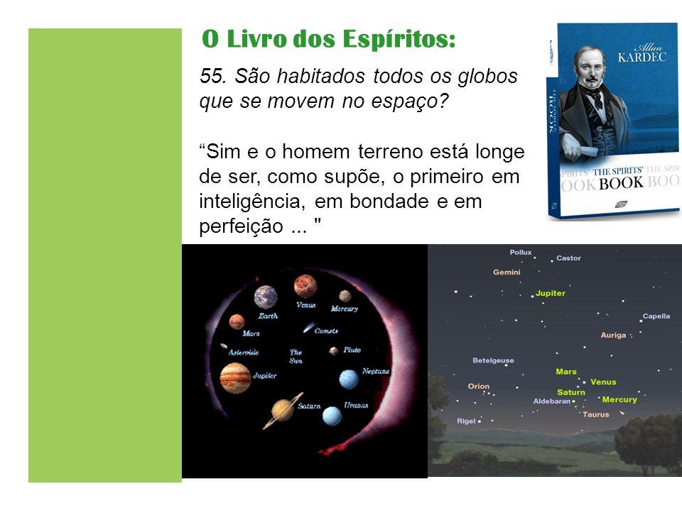 """55. São habitados todos os globos que se movem no espaço? """"Sim e o homem terreno está longe de ser, como supõe, o primeiro em inteligência, em bondade"""