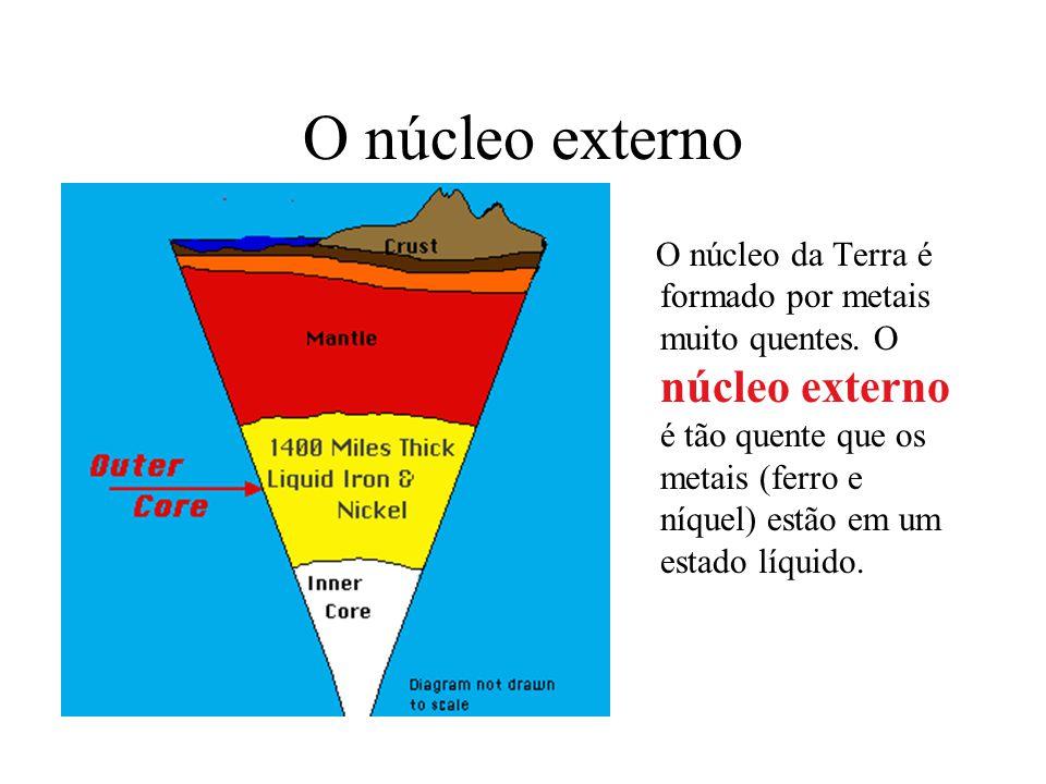 O núcleo externo O núcleo da Terra é formado por metais muito quentes. O núcleo externo é tão quente que os metais (ferro e níquel) estão em um estado