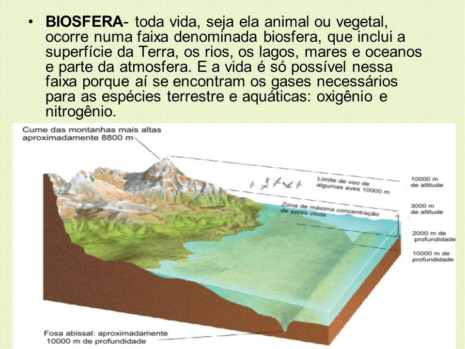 BIOSFERA- toda vida, seja ela animal ou vegetal, ocorre numa faixa denominada biosfera, que inclui a superfície da Terra, os rios, os lagos, mares e o