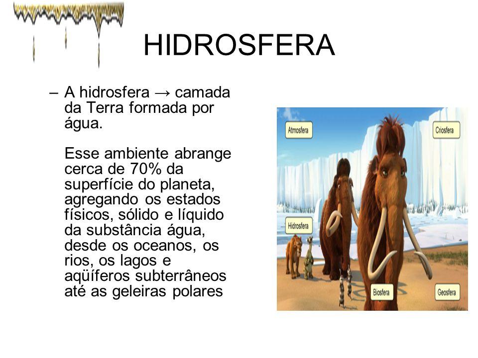 HIDROSFERA –A hidrosfera → camada da Terra formada por água. Esse ambiente abrange cerca de 70% da superfície do planeta, agregando os estados físicos