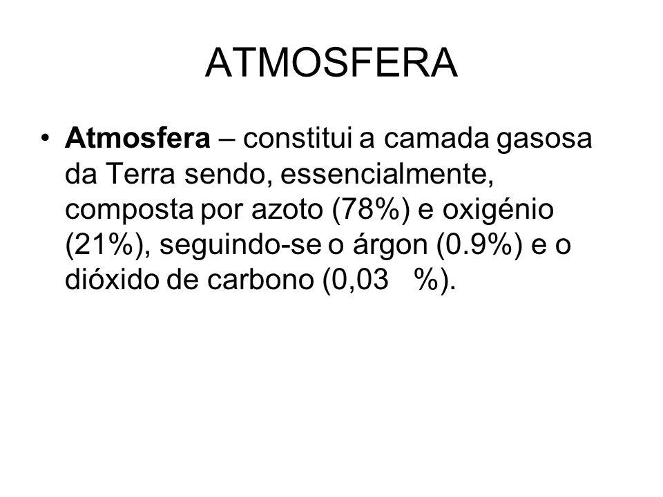 ATMOSFERA Atmosfera – constitui a camada gasosa da Terra sendo, essencialmente, composta por azoto (78%) e oxigénio (21%), seguindo-se o árgon (0.9%)