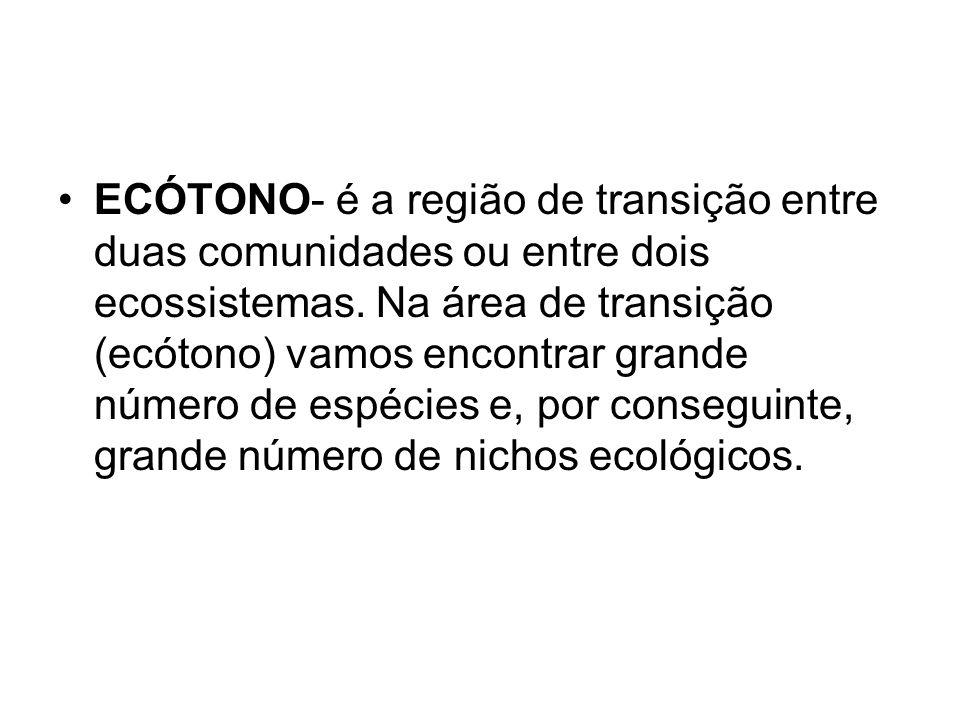 ECÓTONO- é a região de transição entre duas comunidades ou entre dois ecossistemas. Na área de transição (ecótono) vamos encontrar grande número de es