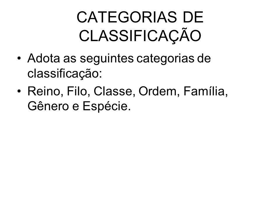 CATEGORIAS DE CLASSIFICAÇÃO Adota as seguintes categorias de classificação: Reino, Filo, Classe, Ordem, Família, Gênero e Espécie.