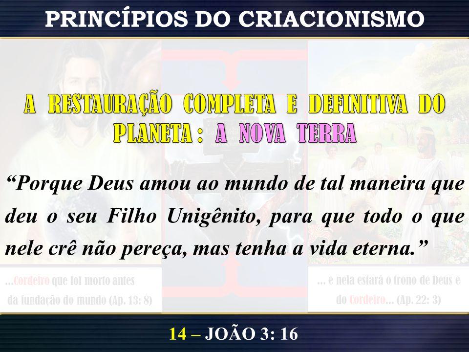 ...Cordeiro que foi morto antes da fundação do mundo (Ap. 13: 8)... e nela estará o trono de Deus e do Cordeiro... (Ap. 22: 3) PRINCÍPIOS DO CRIACIONI