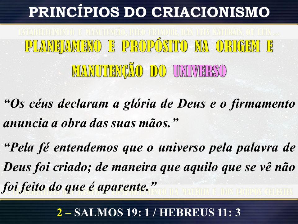2 – SALMOS 19: 1 / HEBREUS 11: 3 PRINCÍPIOS DO CRIACIONISMO