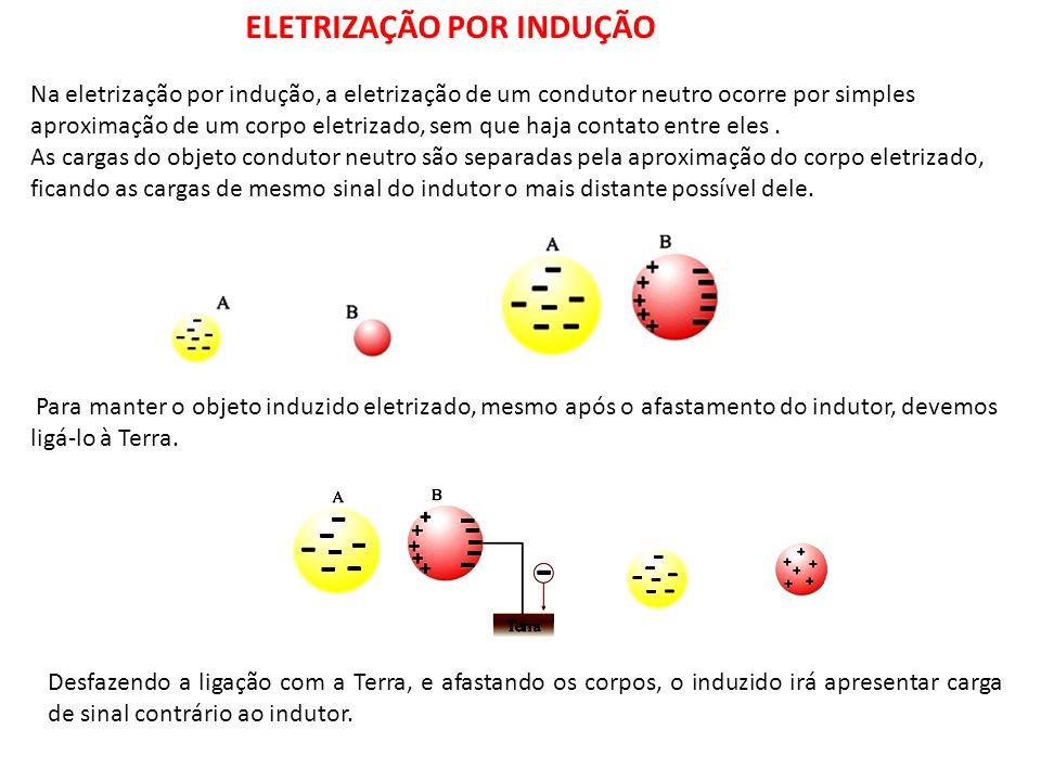 Na eletrização por indução, a eletrização de um condutor neutro ocorre por simples aproximação de um corpo eletrizado, sem que haja contato entre eles