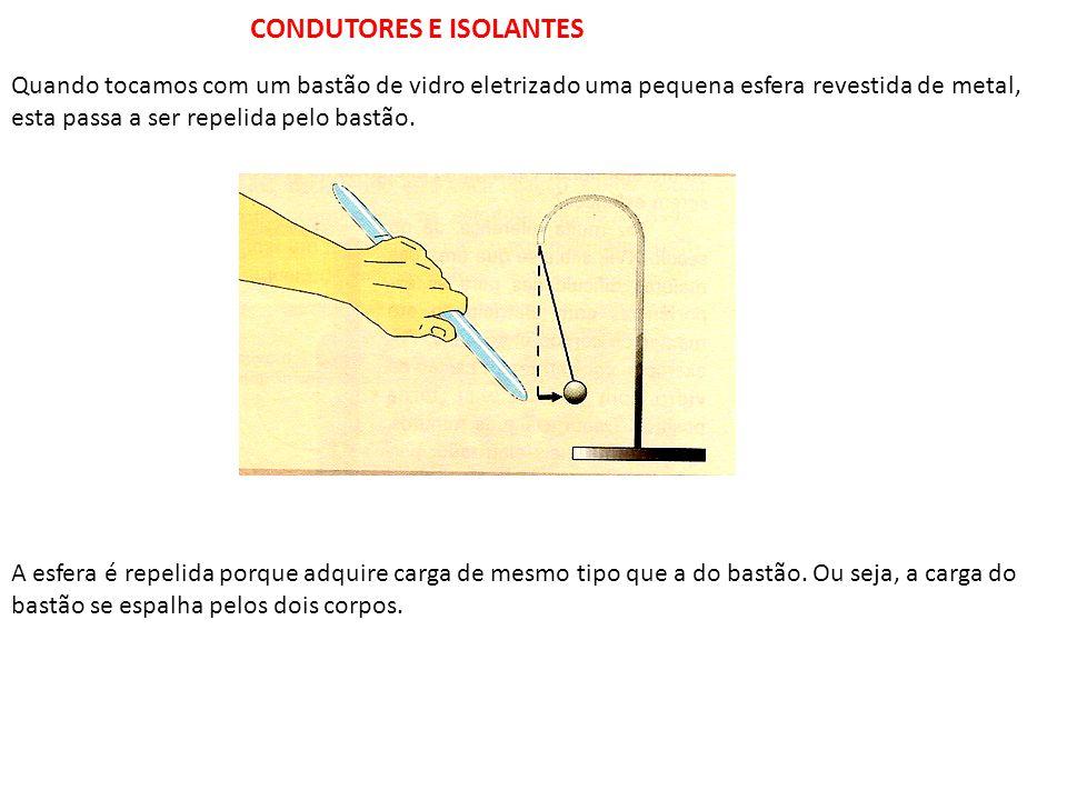 CONDUTORES E ISOLANTES Quando tocamos com um bastão de vidro eletrizado uma pequena esfera revestida de metal, esta passa a ser repelida pelo bastão.