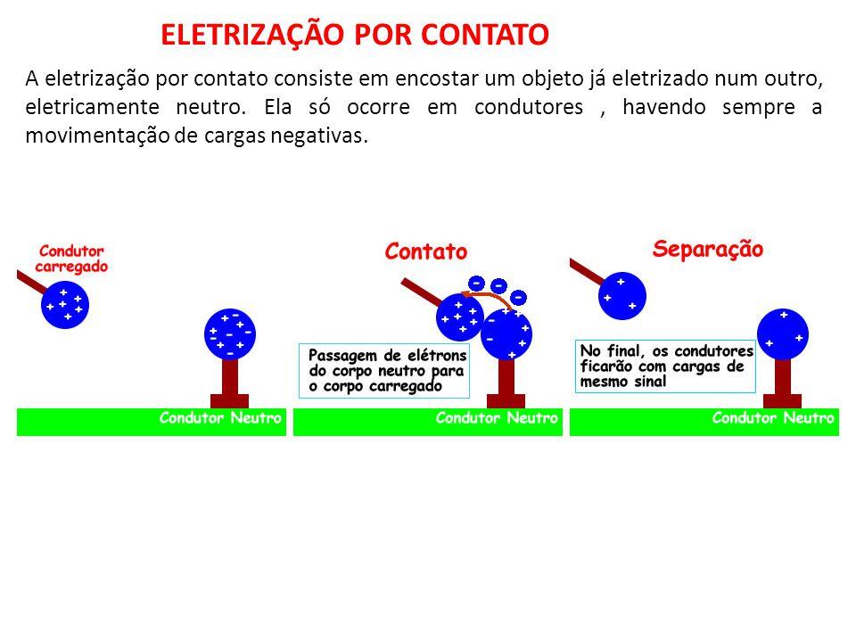 A eletrização por contato consiste em encostar um objeto já eletrizado num outro, eletricamente neutro. Ela só ocorre em condutores, havendo sempre a