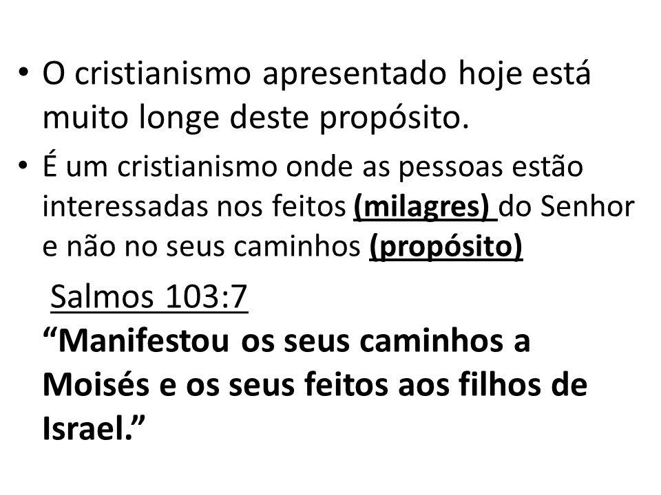 O cristianismo apresentado hoje está muito longe deste propósito. É um cristianismo onde as pessoas estão interessadas nos feitos (milagres) do Senhor