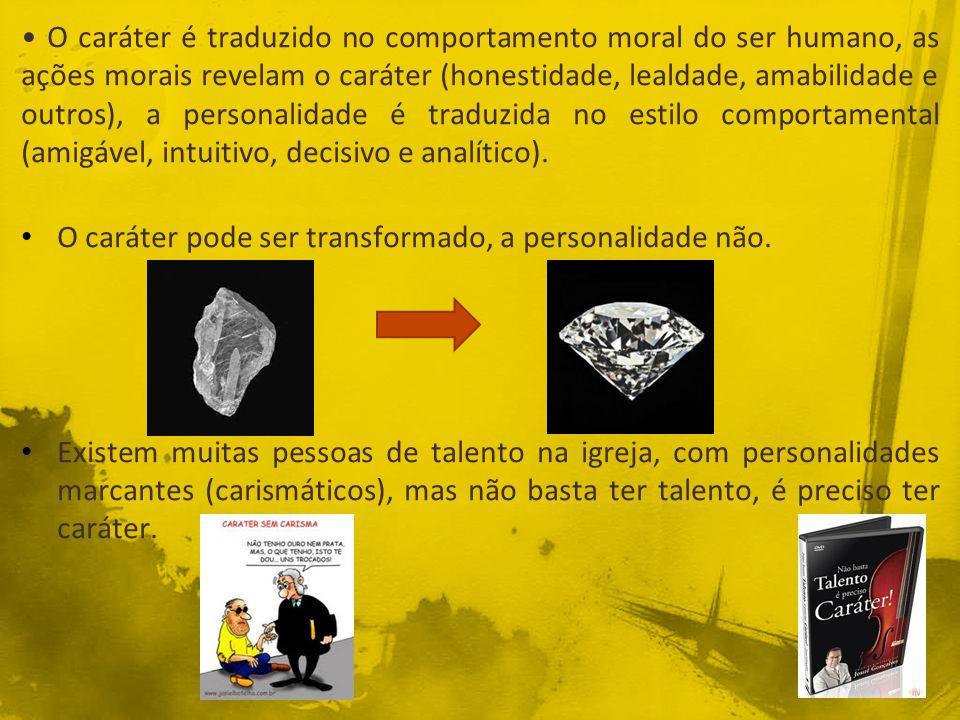 O caráter é traduzido no comportamento moral do ser humano, as ações morais revelam o caráter (honestidade, lealdade, amabilidade e outros), a persona