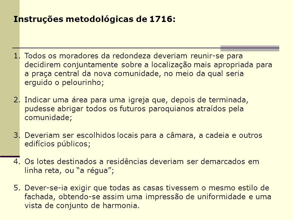 Instruções metodológicas de 1716: 1.Todos os moradores da redondeza deveriam reunir-se para decidirem conjuntamente sobre a localização mais apropriad