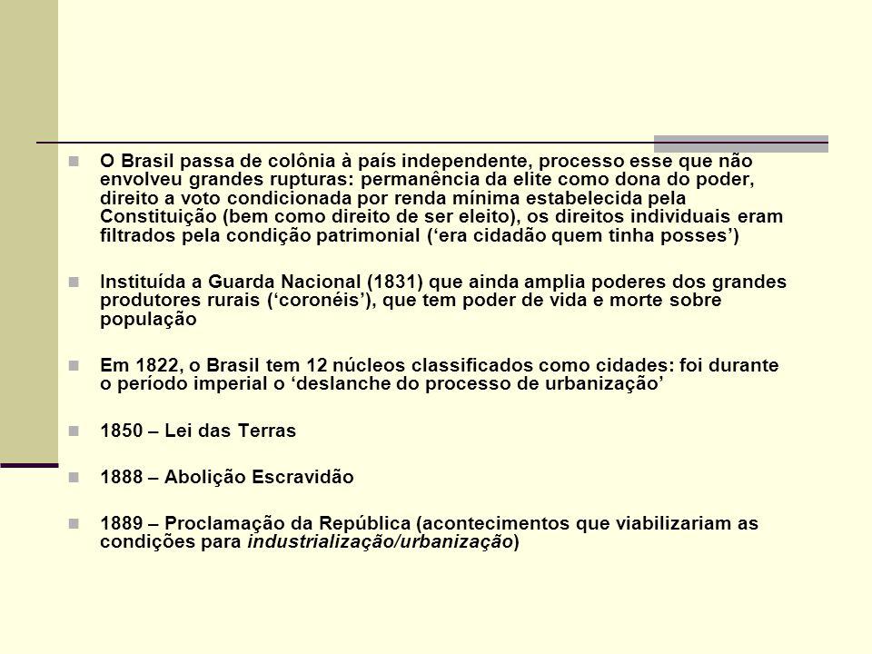 O Brasil passa de colônia à país independente, processo esse que não envolveu grandes rupturas: permanência da elite como dona do poder, direito a vot