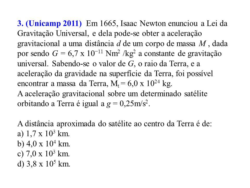 Resolução questão 2: Temos que: Pela 3ª Lei de Kepler: B