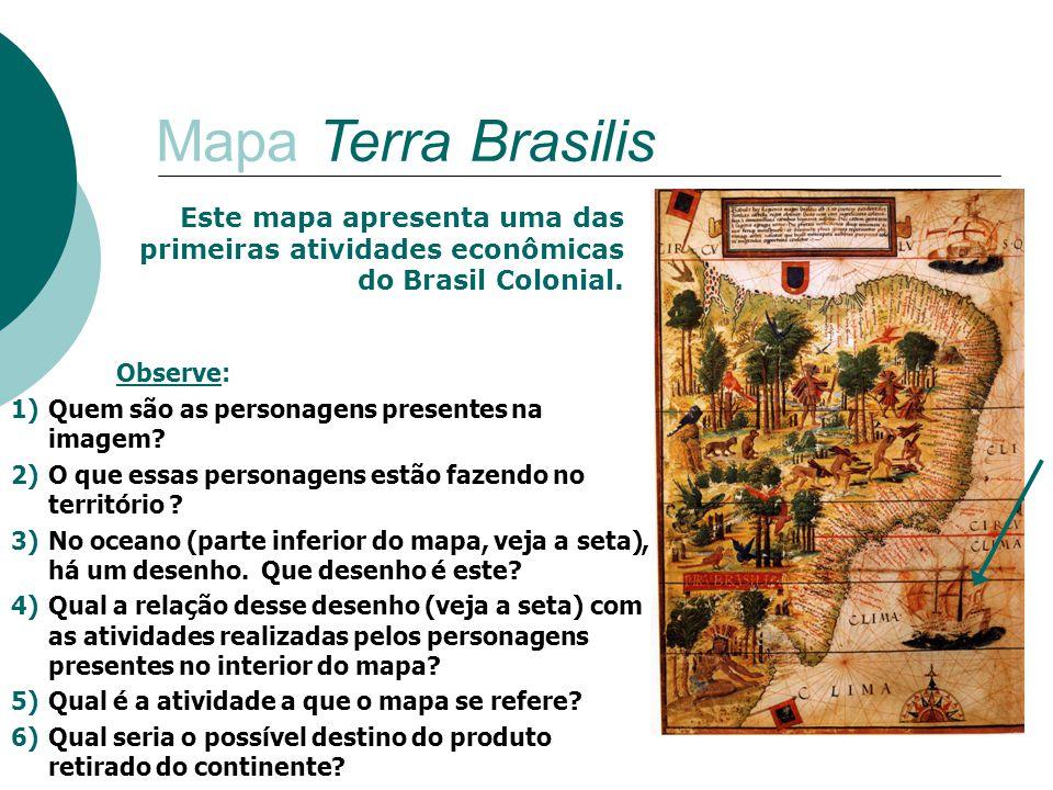 Mapa Terra Brasilis Observe: 1)Quem são as personagens presentes na imagem? 2)O que essas personagens estão fazendo no território ? 3)No oceano (parte