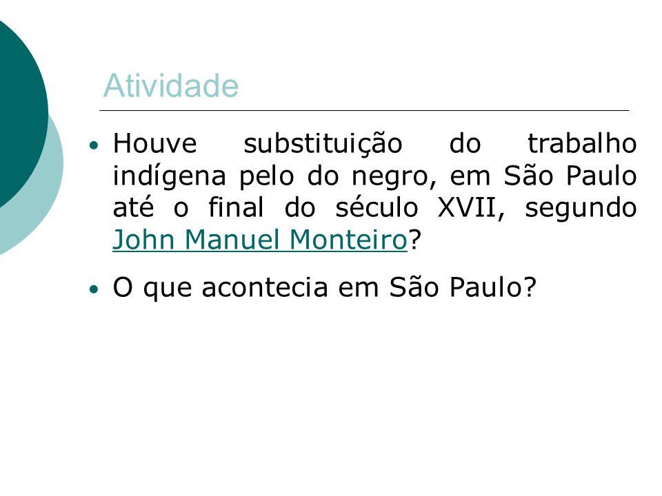 Atividade Houve substituição do trabalho indígena pelo do negro, em São Paulo até o final do século XVII, segundo John Manuel Monteiro? John Manuel Mo