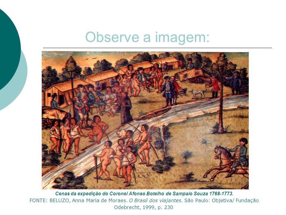 Observe a imagem: Cenas da expedição do Coronel Afonso Botelho de Sampaio Souza 1768-1773. FONTE: BELUZO, Anna Maria de Moraes. O Brasil dos viajantes