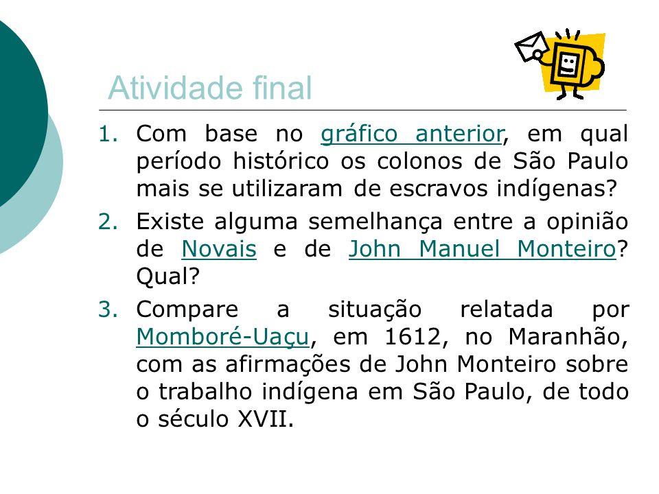 Atividade final 1. Com base no gráfico anterior, em qual período histórico os colonos de São Paulo mais se utilizaram de escravos indígenas?gráfico an