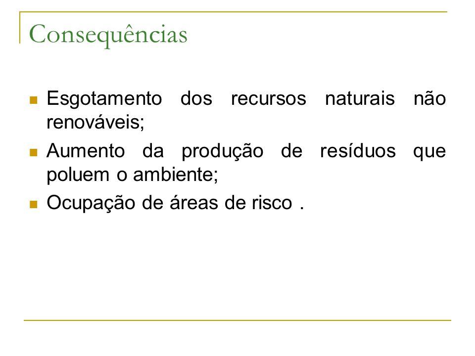 Consequências Esgotamento dos recursos naturais não renováveis; Aumento da produção de resíduos que poluem o ambiente; Ocupação de áreas de risco.