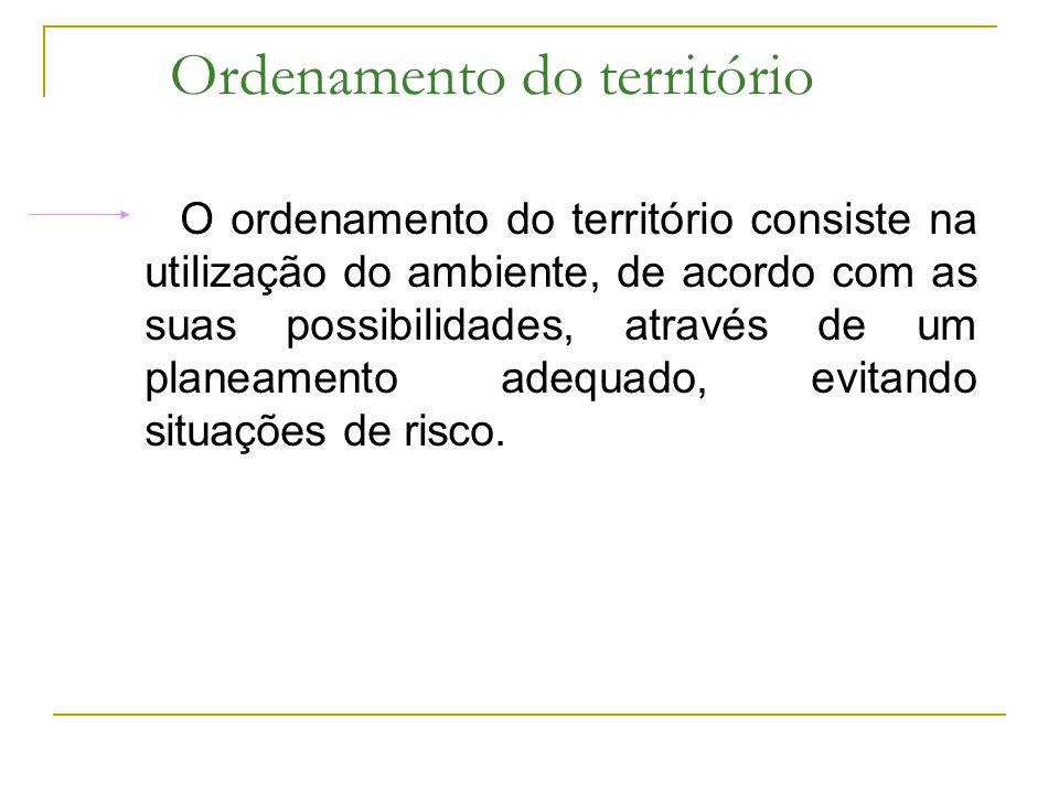 Ordenamento do território O ordenamento do território consiste na utilização do ambiente, de acordo com as suas possibilidades, através de um planeame