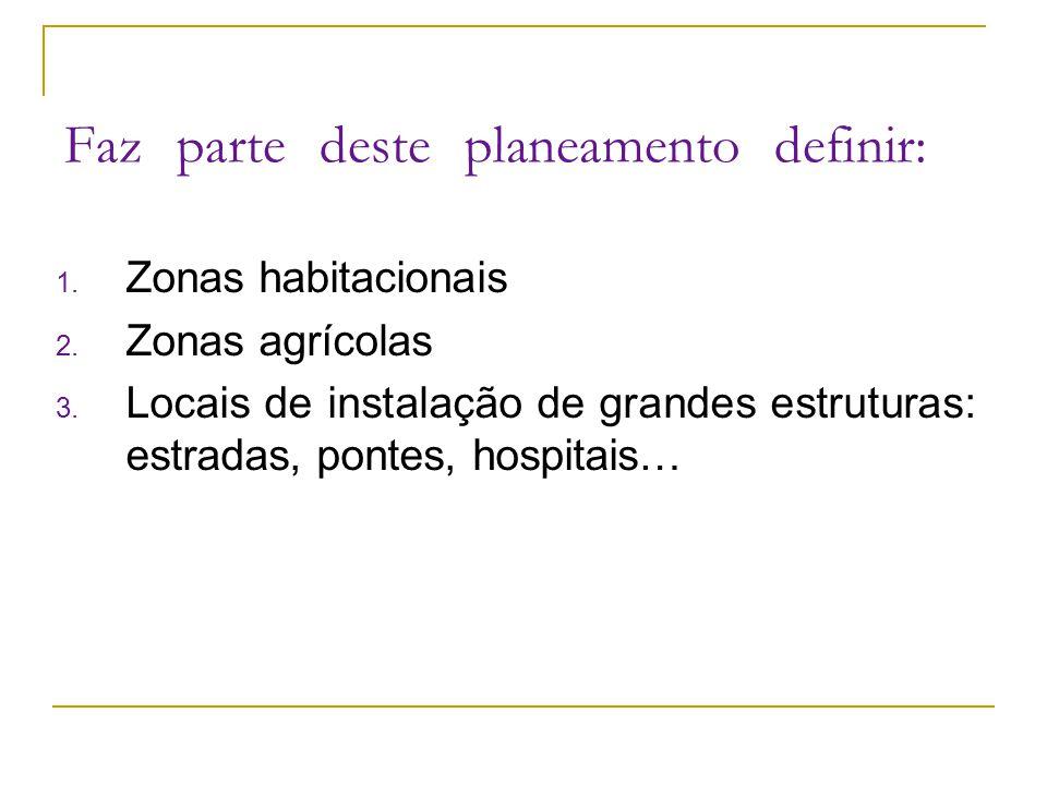1. Zonas habitacionais 2. Zonas agrícolas 3. Locais de instalação de grandes estruturas: estradas, pontes, hospitais… Faz parte deste planeamento defi